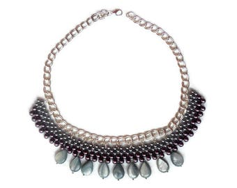 Bead Woven Jewelry Necklaces Grey Nacre Collar necklace