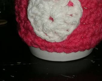 Heart mug cozies, crochet cozies, tea cozies