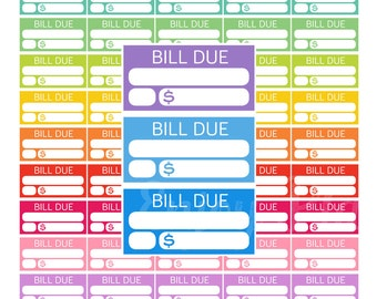 Bill Due Planner Stickers PRINTABLE Bill Due Planner Stickers Bill Due Stickers Erin Condren Bill Due Stickers Budget Stickers Pay stickers