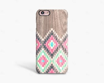 Pink iPhone 6 Case Wood Print, iPhone 8 Case Wood Print, Tribal iPhone Case, Pink and Mint iPhone Case iPhone 7 Case Protective Gift for Her