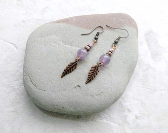 Amethyst and copper earrings, feather earrings, ultra violet, february birthstone, gifts for women, anniversary gift idea, mothers day gifts