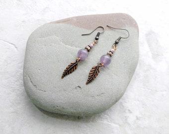 Amethyst und Kupfer Ohrringe, federohrringe, ultra Violet, Februar Birthstone, Geschenke für Frauen, Jahrestag Geschenk-Idee, muttertagesgeschenke