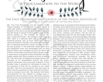 Family Proclamation Digital Print LDS Family Proclamation