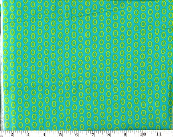 1 Yard, Lime Green Circles on Teal Cotton