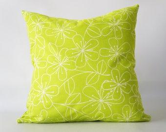 26x26Lime Green Pillow Cover, green pillow cover, floral pillow cover, green floral pillow cover, green decorative pillow, toss pillow cover