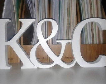 Wedding Decoration / Valentines Gift - Free Standing Wooden Letters and an Ampersand, 13cm Large Letters - 2 Letters Plus & Sign, Initials