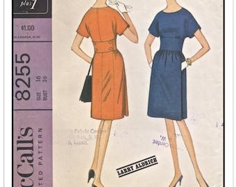McCALL'S Pattern 8255 - Misses' New York Designers' Larry Aldrich Midriff Dress w/Seam Details and Back Button Tab - Sz 16 B36 - Vtg 1960s