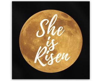 "SHE IS RISEN Metal Magnet, 2"" Square, Full Moon Ostara Fridge Magnet, Ēostre Spring Equinox"