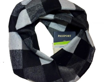 Winds of Winter | Black & Gray Wool Infinity Scarf With Hidden Pocket