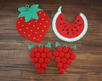Crocheted Pot Holders Hot Pads Coasters Set of 4 Fruit Watermelon Strawberry Grapes Bottle Caps Trivets