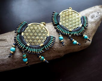 Flower of Life Macrame Brass Earrings with Beads | Blue Sacred Geometry | Bohemian Chic