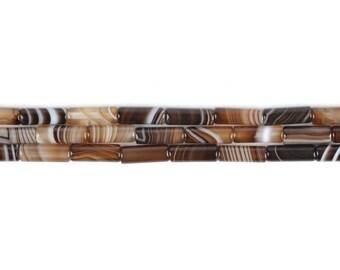 "13mm Brown Brazlilian Agate Cylinder tube loose gemstone beads 16"""