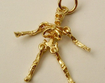 Genuine SOLID 9K 9ct YELLOW GOLD 3D Skeleton Movable charm/pendant