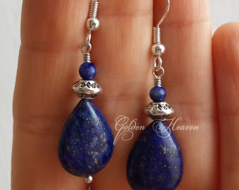 Lapis Lazuli Earrings 925 Sterling Silver Hooks dark blue Drop Teardrop Beautiful Jewelry