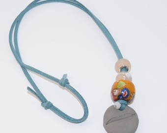 Essential Oil Diffuser Gray Clay Pendant Blue Suede Beaded Necklace