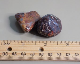 Two Rough Rugged Brecciated Red Jasper Tumbled Stones 1.6 oz total Red Gemstone Rock Specimen Mediation