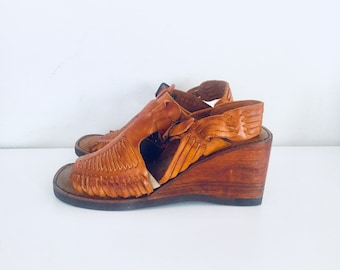 70s Clogs Platforms Huarache Sandals Wood Wedge Heels Leather 6.5 1/2 M 36 made in Brazil by Buskens unused deadstock