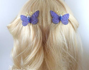 Butterfly clips anti-slip silk purple body beads and gold metal antennas, Ombre, spring - Apolline - made in France