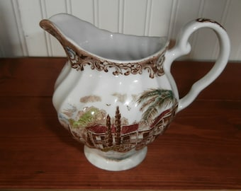 Vintage Heritage Hall transferware 4 1/2 inch creamer American hacienda made in Staffordshire England ironstone