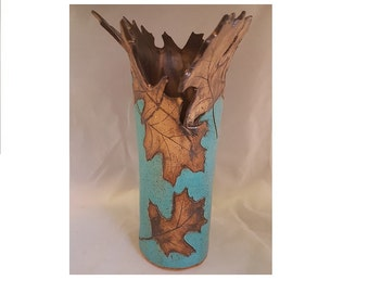 Carved leaves free-shape vase blue and bronze hand made ceramic
