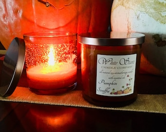 Pumpkin Soufflé  Natural Soy Candle 7oz Amber Glass Soy Candle with Bronze lid.