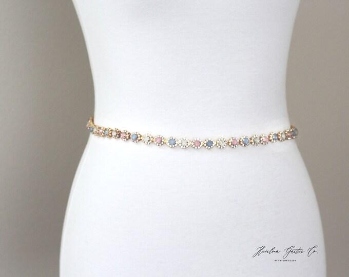 Gold Bridesmaid Belt, Bridal Belt, bridesmaid belt, Bridal Sash, Something Blue, Wedding Belt, Wedding Sash Rhinestone Sash