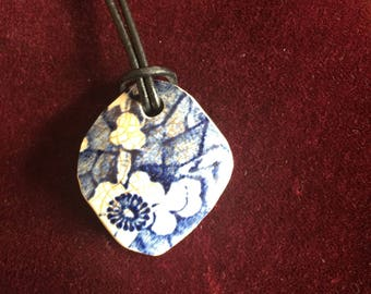 Vintage Thames foreshore blue and white floral pottery shard pendant
