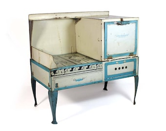 "Vintage Litho Tin ""Like-Mother's"" Toy Stove and Oven with Legs"