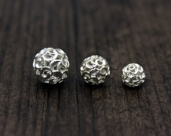 2pcs Sterling Silver Beads, 8mm/10mm/12mm for selection, Bright Silver Hollow Beads, Sterling Silver spacer bead, Silver flower spacer bead