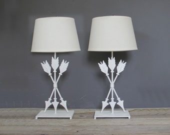 White Metal Arrow Table Lamps, Pair. Great Nursery Decor