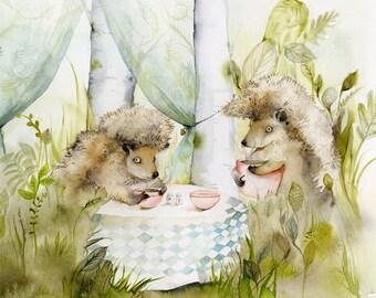 hedgehogs, children, decor, forest- Forest Cafe