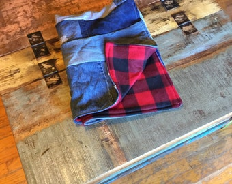 Pet blanket, pet bed, pet mat, dog mat, cat blanket, recycled denim pet blanket, small animal bed, small pet mat, size small