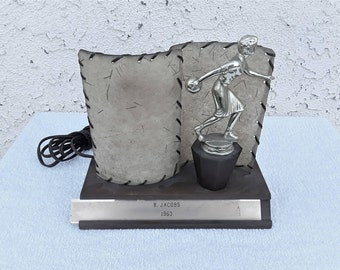 Vintage  Mid - Century Women Bowling Trophy  With  lighting Lamp Working
