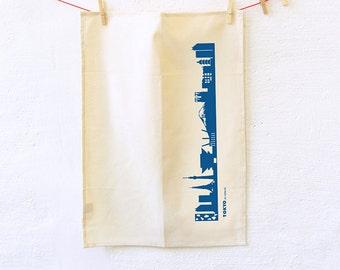 Dish towels Tokyo , blue Tokyo print, Natural Kitchen Towel, Flour Sack Towel, Tokyo TeaTowel, Novelty Towel, housewarming wedding gift