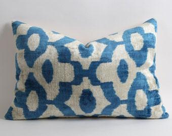Blue ikat cushion cover - boho ikat pillow - blue velvet ikat cushion - blue white pillow - blue velvet pillow