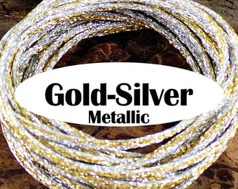 5 yards Gold Silver Metallic Rattail Satin Rayon Cord #2 Heavy Weight