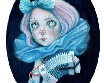 Little clown with her concertina,  a signed A5 Giclée art print of my original clown painting.