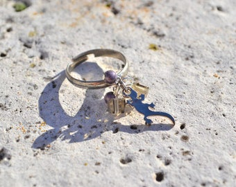 Silver lizard ring