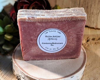 Cranberry Red Currant Pie Soap (bar shape) || cold process | artisan | handcrafted soap | Christmas soap | holiday | gift | sister gift