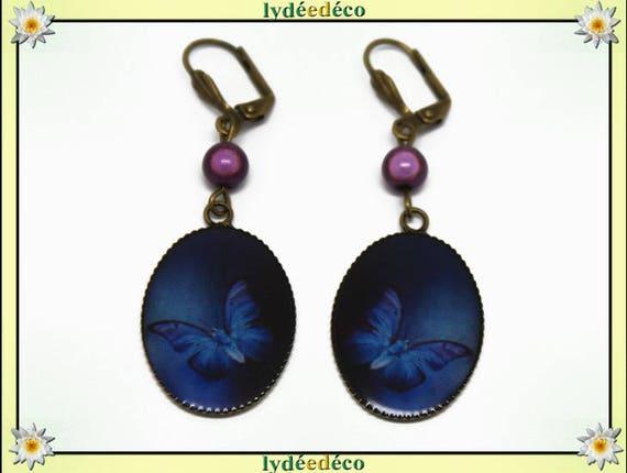 Earrings vintage retro Butterfly blue white purple resin pendants 18 x 25mm glass beads bronze brass