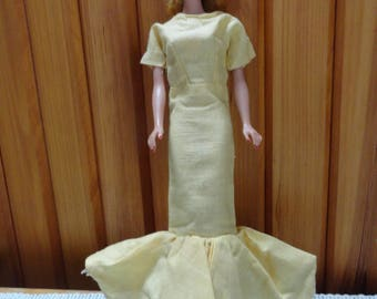 1960s Barbie Formal Type Gown In a Pale Yellow.