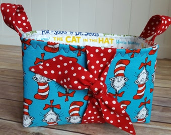 Fabric storage basket, fabric organization basket, Dr. Seuss, Dr. Seuss nursery, Cat in the hat, Dr. Seuss Teacher gift, nursery storage