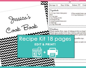 Black Chevron printable recipe binder kit editable meal planner instant download recipe book DIY recipe organizer PDF