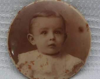 Antique Sepia Child Portrait Pinback-Early 1900's