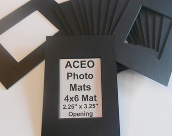 ACEO Photo Mat Kits Black w/black core 4x6 with ACEO size opening Quantity 20