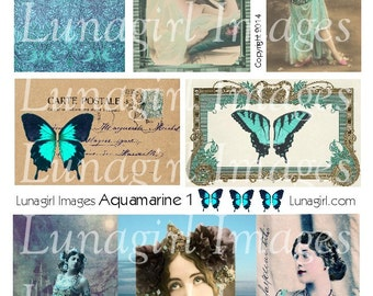 AQUAMARINE digital collage sheet, turquoise BLUE vintage images, wings women frames fantasy printable altered art antique ephemera DOWNLOAD