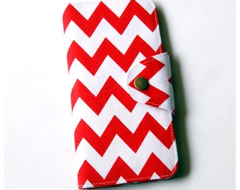 Red and White Zigzag Long Passport Wallet, Boarding Pass Holder, Family Passport Wallet