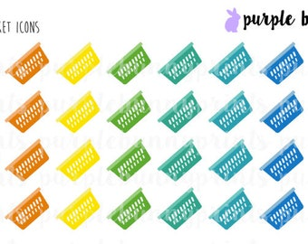 Rainbow Laundry Basket Icons // Planner Stickers!