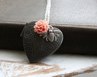 Bee Necklace Locket, Heart Locket Pendant, Silver Heart Locket, Silver Locket, Locket Jewelry, Heart Necklace, Flower Locket , Bumblebee