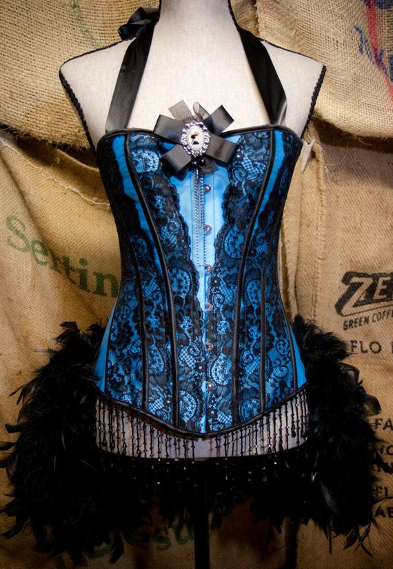 LARGE - MARIE ANTOINETTE corset dress Can Can Costume Blue Showgirl feathers
